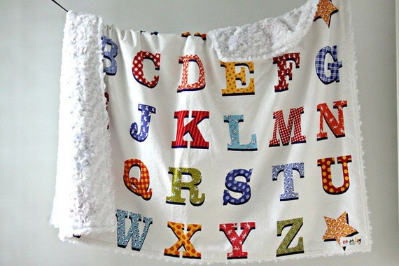 Large Baby/Toddler Blanket, Colorful ABC's with White Minky Swirl, Ready to Ship