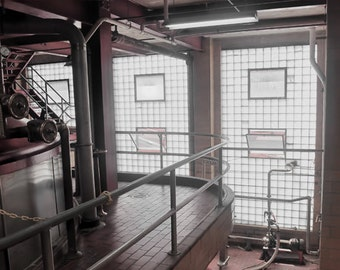 Beer Brewery, HDR photograph, black, white, and muted red, 8 x 10 fine photography print, Where It's Made