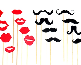 Mustache and Lips On a Stick - 16 Piece Set - Photo Booth Props - Wedding Props - Birthday Party - Little Man - Gender Reveal