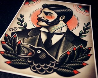 Victorian Gentleman Tattoo Flash