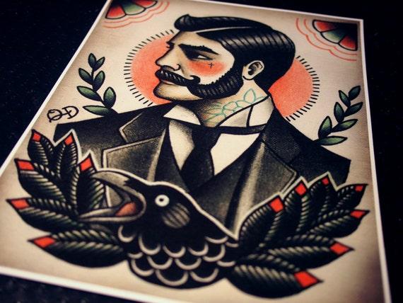 Victorian Gentleman Tattoo Flash
