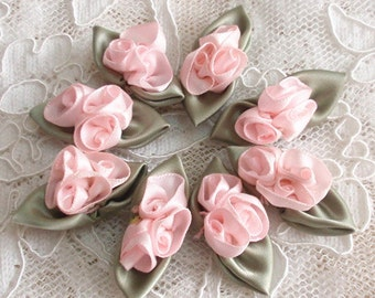 8 Handmade Flowers (Tulip) With Leaves (1-1/2 x 5/8 inches) In Lt pink, Sage Green MY-160 -01 Ready To Ship