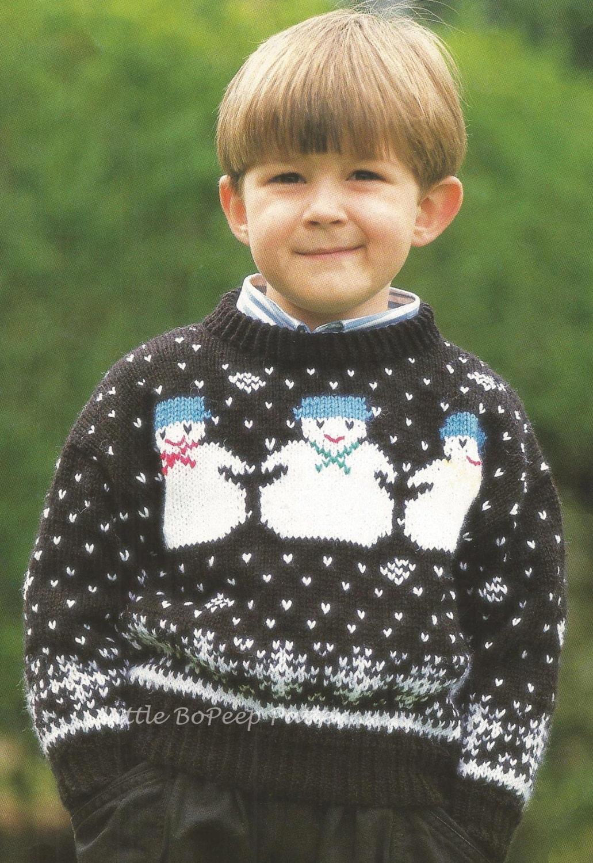 Childs Jumper Knitting Pattern : Snowman Knitting Pattern for Childs Jumper DOWNLOAD