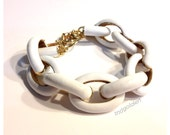 SALE White Enamel Link Bracelet