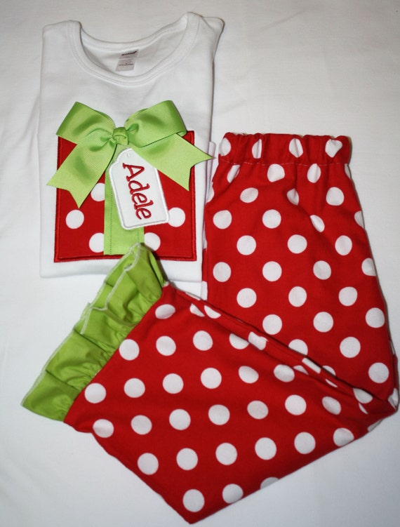 monogrammed girls christmas pajamas by sewyouboutique on etsy