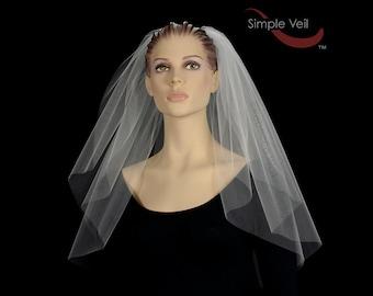 2 Layer Shoulder Length Bridal Veil, Cut Edge, Simple Veil
