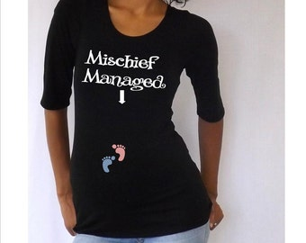 "Maternity Funny ""Mischief Managed"" Maternity Shirt- Black or White VA015"