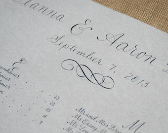 Wedding Seating Chart - Custom Hand Calligraphy - Wedding Reception Assigned Table Seating -Wedding Table Seating Plan - Prices Starting At: