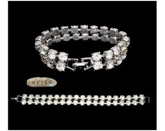 Vintage Weiss Double Strand Clear Rhinestone Bracelet