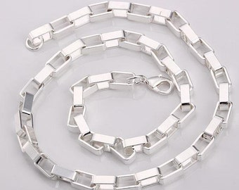 """5pcs 20"""" 7mm Silver Plated Necklace Link Chain Wholesale"""