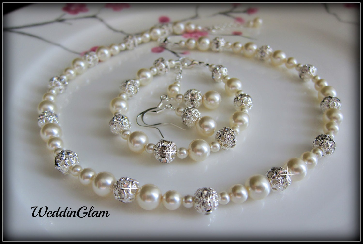 Pearl Wedding Jewelry White Or Ivory Pearl Necklace With