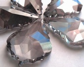 10 Grey 50mm Chandelier Crystals French Cut Pendalogue Baroque Prisms Gray