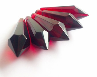 5 Dark Red 38mm Chandelier Crystal Icicle Prisms
