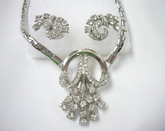 Vintage Art Deco Silver Rhinestone Wheat Necklace and Earring Demi Parure Set