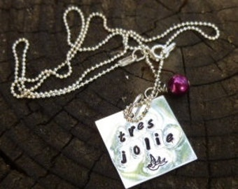 Hand Stamped Sterling Silver Necklace - tres jolie.