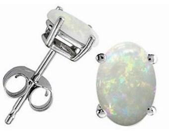14Kt White Gold Genuine Opal Oval Stud Earrings