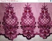 "SALE 7"" Wide Venice Organza Burgundy Lace Embroidered Wine Bordeaux / Satin Floral Sequins & Pearls / Textile Trim"
