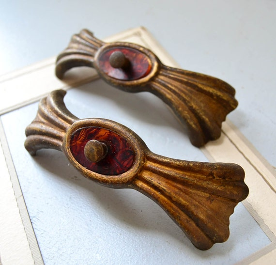 Vintage Art Deco Drawer Pulls With Bakelite Insert Metal