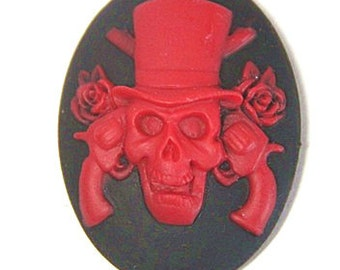 12 pcs of resin skull cameo 30x40mm-RC0157-red on black
