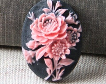 12 pcs of resin flower cameo-30x40mm-RC0401-3-pink on black