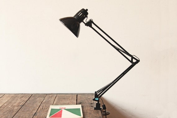 Desk Lamp Clamp: Black Metal Articulating Clamp Desk Lamp,Lighting