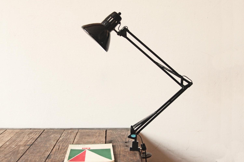 Black Metal Articulating Clamp Desk Lamp