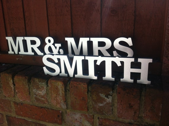 Personalised mr and mrs letters stand up by katesweddingshop for Personalised mr and mrs letters