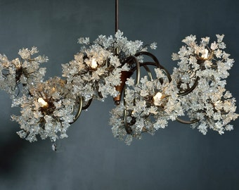 Chandeliers with clear flowers, Ceiling Lighting Fixtures  chandelier with  10 arms