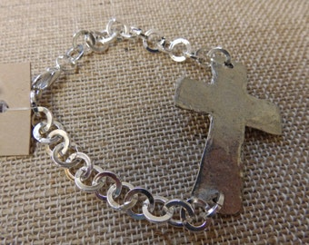 Silver chain with large silver cross