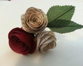 Book Page Wedding Boutonniere with Coloured Roses