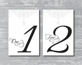 """INSTANT DOWNLOAD - Antique Gate Design Wedding Reception Table Numbers DIY 1-10 Print-Ready 6x4"""""""