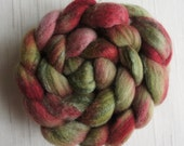 Merino /Tussah Silk Top Wool Roving - Hand Painted Felting or Spinning Fiber  Traditional Christmas colours  -100