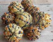 Felt Beads, Extra large Beads, Yellow and Orange shades Beads, Felt Balls Felt Beads Felted Balls Wool Beads, Round