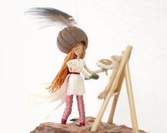 Handmade gift for a Painter, Art sculptured doll, Custom mobile,