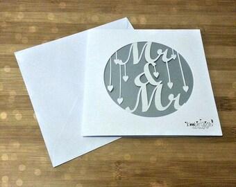 Mr and Mr paper cut card