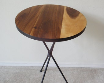FINAL SALE 30% OFF 31.75 inches Handmade Mid Century Modern Round Accent Table, Pedestal Table