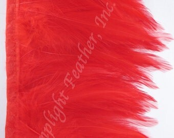 Rooster hackle trim, Red on bias tape, per 5 yards