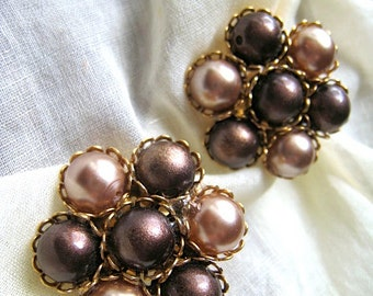 Vintage Signed Garne Faux Pearl Earrings Brown Tones and Gold Tones Clip On, Bridal Jewelry, Wedding