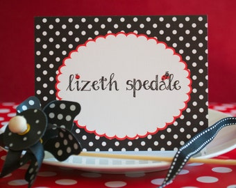 Ladybug Stationery, Ladybug Thank You Note Card, Personalized, Personal Stationery, Children's Personal Stationary - Printable