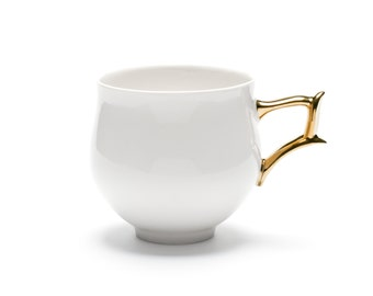 Porcelain Cup, White Cup with Gold Handle, Ceramic, Handmade, Ceramics and Pottery, Tea or Coffee Cup, Contemporary Modern Design