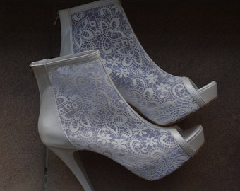 Wedding shoes, Bridal shoes, Lace wedding boots   #8437