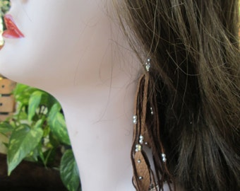 Light Brown Deerskin Leather  Earrings With Silver beads And  Leather Feathers