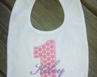 Personalized Birthday Bib, 1st birthday, girl, boy. Polka Dots 1st birthday bib.