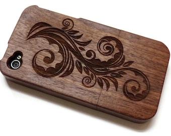 Iphone 4 case / iphone 4S case wood - wood Iphone 4 case bamboo, cherry and walnut wood - Flower
