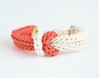 Coral bracelet, knot bracelet, knit bracelet in salmon pink and beige