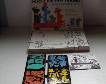 Hanna Barbera Huckleberry Hound Cartoon Colorform Toy Complete Set