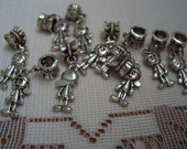 10 Silver Tone  Detailed Little Boy Charms on Large Hole Bail for Bracelet