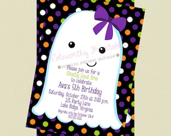 Ghost Halloween Invitation - Halloween Party Invitation - Halloween Birthday Invite - Girl Halloween Invitation - DIY Printable File
