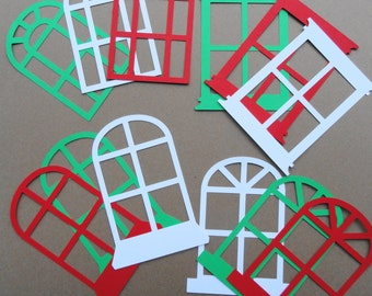 Window Die Cuts Red White Green Set of 12