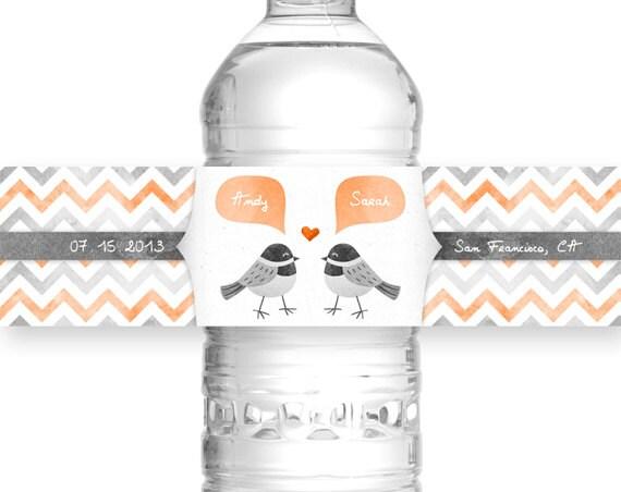 Love BIRD Tangerine Wedding Water Bottle By HappyCatPrintables